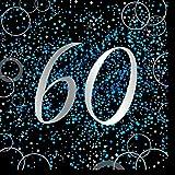 Unique Papierservietten mit Foliendruck für den 60. Geburtstag,blau,16er pack