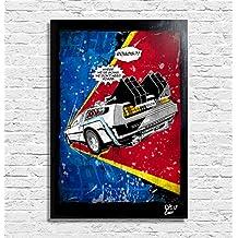 Delorean DMC-12 de la película Regreso al futuro (Back to the Future) - Pintura enmarcado original, imagen, impresión, cartel, póster, impresion en lienzo, cuadro, cómics, cartel de la película, geek, nerd