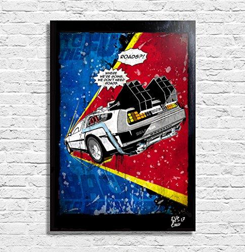 Delorean DMC-12 de Retour Vers le Futur (Back to the Future) - Illustration originale encadrée, peinture, presse artistique, poster, toile imprimée, art contemporain, image sur toile, affiche d'art, bandes dessinées, affiche de film, nerd, geek