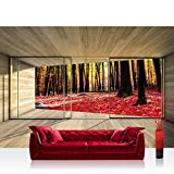 Fototapete 368x254 cm PREMIUM Wand Foto Tapete Wand Bild Papiertapete - Holz Tapete Holzoptik Wald Bäume Blätter Fenster Rahmen beige - no. 2158
