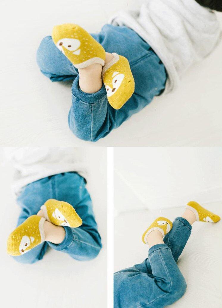 Estwell 5 Pares Calcetines Antideslizantes para Bebé Niños Infantil Niños Niñas Algodón Calentar Lindo Zorro Calcetines 5