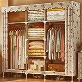 ZC&J Home tragbaren Tuch Kleiderschrank, Stahlrahmen Skelett und Oxford Stoff, Schlafzimmer und Wohnzimmer mit großer Kapazität Kleiderschrank,A6,65*66*18inch
