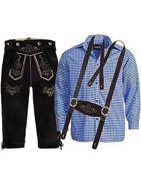 Trachtenlederhose Kniebundhose mit Trägern aus Rindveloursleder Dunkelbraun + Trachtenhemd blau kariert
