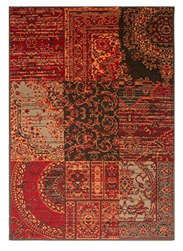 The Rug House Milan Rot Braun Burnt Orange Grau Patchwork Traditionelle Wohnzimmer Teppich, Terracotta Patchwork, 120cm x 170cm (3'11