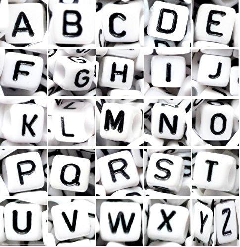 100pcs 7mm cube blanc alphabet lettre perles