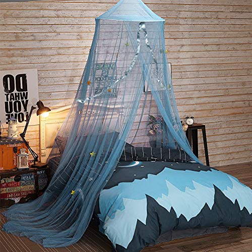 YIKANWEN Baby Baldachin Betthimmel Kinder Babys Bett Bettvorhang Garn Deko Moskitonetz für Prinzessin Spielzelte Kinderzimmer & Schlafzimmer Dekoration-Blau