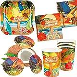 Karneval-Klamotten Party Set XL Hawaii Beach Ara 30 Teile : Teller, Becher, Servietten, Cocktail-Schirmchen