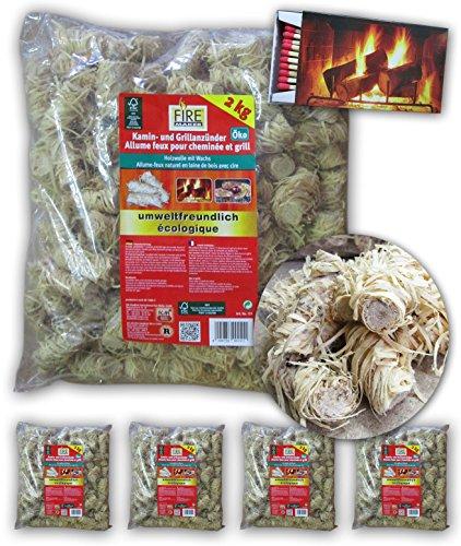 """Preisvergleich Produktbild 10 kg (5x2kg) Firemaker 151 Feuerbällchen Kamin- & Grillanzünder """"Öko"""" + GRATIS Camino Spezial Streichhölzer 10 cm"""