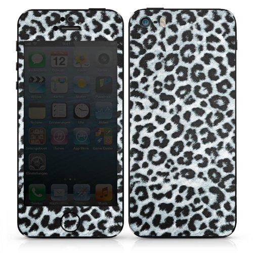 Apple iPhone 4s Case Skin Sticker aus Vinyl-Folie Aufkleber Leopard Fell Grau Animal Print DesignSkins® glänzend