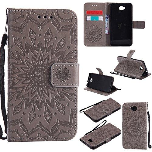 YYhin Schutzfolie für Microsoft Lumia 650/Lumia 650 Dual-SIM hülle, Cartera Wallet Leder abnehmbare magnetische abnehmbare Tasche mit Flip Schutzhülle Case.(Grau)