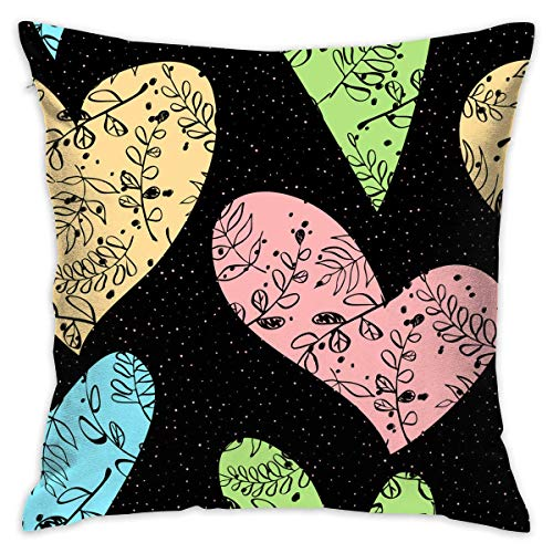 FPDecor Funda de Almohada, Square Cushion Covers Love Heart Patterns Throw Pillow Covers Cases Super...