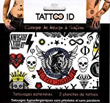 TATTOO ID BAD BOY ROCK tatouage ephemere temporaire hypoallergénique Fabriqué en FRANCE . 2 planches identiques Homme Femme