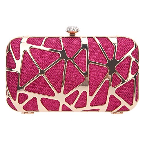 Bonjanvye Special Water Cube Box Evening Clutches Purses for Girls Champagne Fuchsia