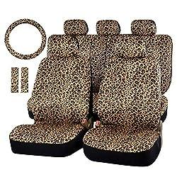 Lykaci Universal Leopard Autositzbezug drucken rutschfest und atmungsaktiv Van Protector mit Sicherheitsgurtpolster Lenkrad