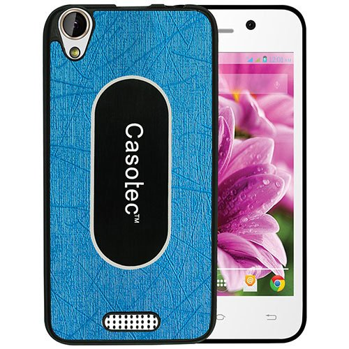 Casotec Metal Back TPU Back Case Cover for Lava Iris X1 atom - Sky Blue  available at amazon for Rs.125