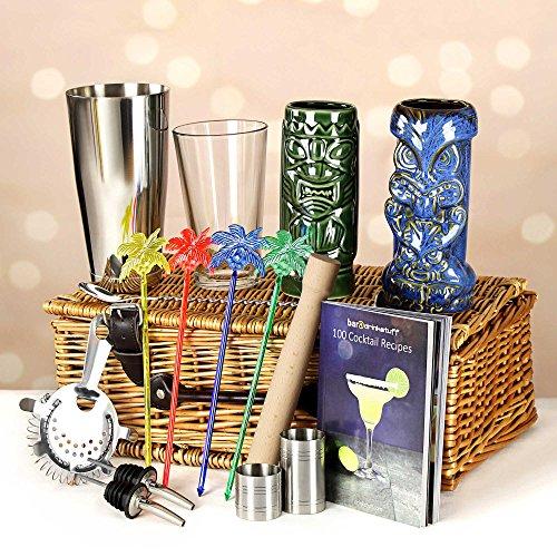 Cesta de regalo con cocteleras Tiki de lujo, set de regalo para Navidad en lujosa cesta