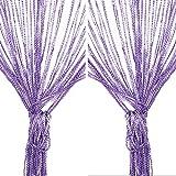 elfisheu Fadenvorhang Fadengardine 2 Stück im Tautropfen Design Fliegenschutz als Raumteiler Insektenschutz Festliche Saisonale Dekoration 100cm x 200cm (Lila)