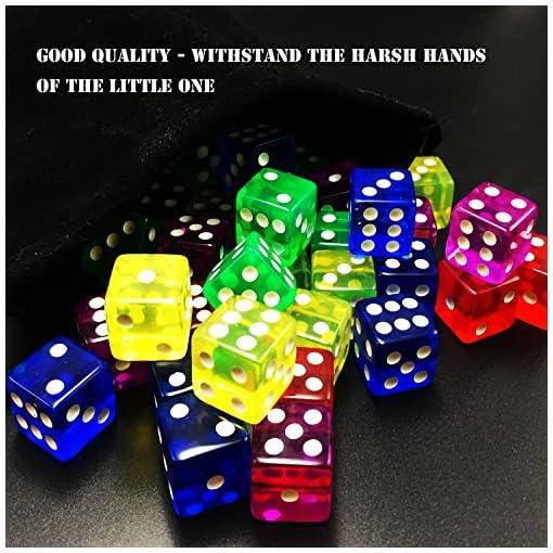 6-seitig-Wrfel-Set-5-Farbspiel-Wrfel-mit-Beuteln-fr-Mathe-Lernen-Casino-Spiele-Party-Favor-und-Geschenke-50-Stck