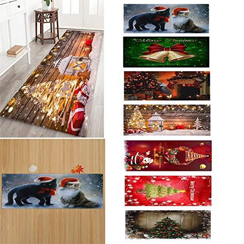 40cm x 120cm,Fußmatte Weihnachten,Fußmatte Weihnachtszwerge,Home Design Fussmatte Schmutzfangmatte Merry Christmas Reindeer Rentier (A, 40x120CM)