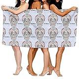 Toalla de baño de microfibra para adultos con diseño de calaveras mexicanas de Dia de Muertos de 78,74 x 132,88 cm