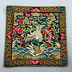 Generic Novelty Chinese Crane Pattern Dining Table Placemats Silk Fabric Square Waterproof non-slip Table Mat Embroidered protector Pad Black