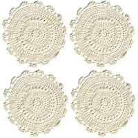 """Ambielly rotonda Handmade Crochet del cotone del merletto Tabella Tovagliette centrini, Value Pack / 4 pezzi, (35cm / 13.7 """", beige)"""