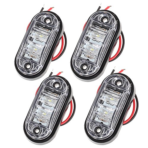 Proster 4 PCS LED Luces de Posición Delantera 12V 24V Camión Van Remolques Indicador de la lámpara Blanca para el coche Camión Van Remolques Indicador