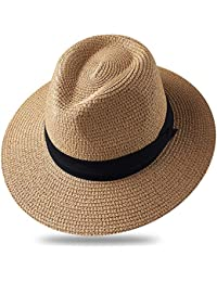 272ed4d1f6c08 FURTALK Women Wide Brim Straw Roll up Hat Fedora Beach Sun Hat UPF50+  Packable Straw Jazz