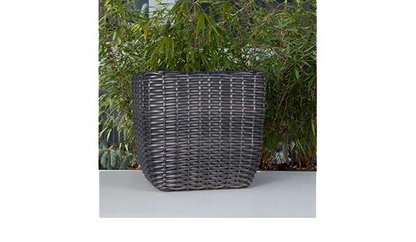 Polyrattan Pflanzkübel eckig schwarz Ø 39 cm: Amazon.de: Garten