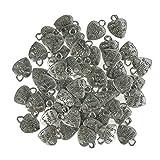 """Peerless 50 Stück Anhänger, Metalllegierung, kleines Loch, aufschrift """"Made with Love"""", Abstandshalter, Antik-Anhänger,Charms für DIY-Armband, Halskette, Schmuck, Legierung, silber"""