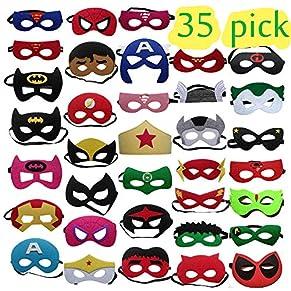 35 Piezas Máscaras de Superhéroe, Accesorio de Fiesta Infantil y Adultos, Máscaras de Cosplay de Superhéroe, Suministros de Fiesta de Superhéroes