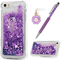 iPhone SE Case iPhone 5S Case iPhone 5 Case MAXFE.CO Shiny Glitter Purple Floating Liquid Clear Flexible Silicone Super Shockproof Protective Cover for iPhone SE/ 5S/ 5 with One Touch Pen & One Dust Plug