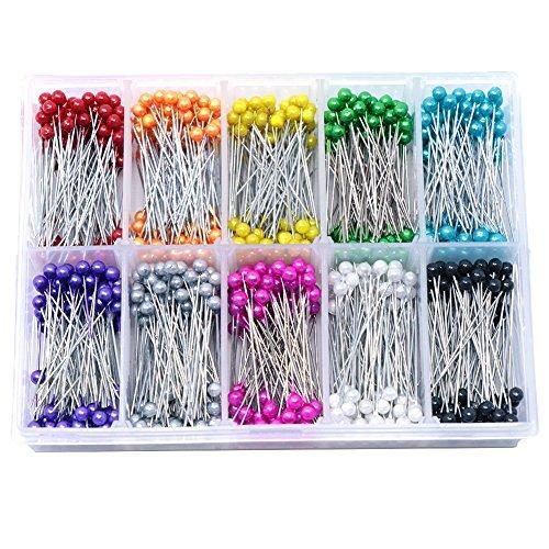 Nähen Pins vapker 36mm 1000pcs mit Perlglanz Head Quilting Pins Floral Pins für Blumen Deco,, Nähen, 10Farben Nähen Pin