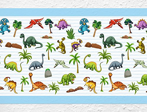 I-love-Wandtattoo b-02-016 Kinderzimmer Bordüre 'Dinosaurier' Tiermotiv Kinderdeko Tapetenstreifen XXL