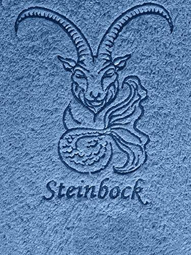 (KringsFashion Duschtuch mit Sternzeichen 1 Steinbock (Geburtstag 22.12. - 20.01.), hochwertig Bestickt, 70x140cm, Farbe: Fjord/Blau, Stickfarbe Tierkreiszeichen: Blau)