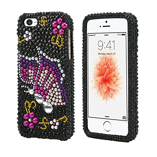 RED SHIELD iPhone SE Fall, Bling Hard Kunststoff Snap auf Shell Case für Apple iPhone SE, iPhone 5SE, iPhone 6C, iPhone 5/5S, Pink Butterfly
