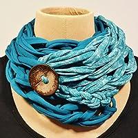 Pañuelo de algodón con botón de coco, verde azulado