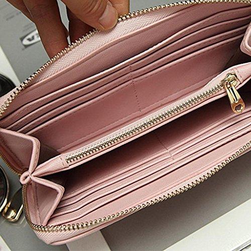 Fulltime® Damen Lady PU Leder Geldbörse Clutches Mädchen Portemonnaie Brieftasche Handtasche Geldbeutel - Lang (Rosa) Rosa