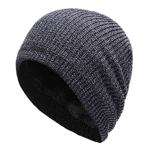 Connectyle Men's Thick Slouchy Knit Beanie Hat Daily Long Skull Cap Warm Winter Hats Watch Cap Navy
