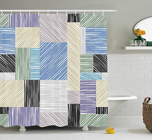 Abstract Shower Curtain by, Square Shaped Box Forms with Sketch Tone Traces Hand Drawn Print, Fabric Bathroom Decor Set with Hooks, 70 Inches, Lilac Peach Blue Army Green -