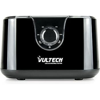 VulTech DK-USB3N Docking Station, Sata, 2 HDD, USB 3.0, Nero