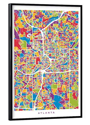artboxONE Poster mit schwarzem Rahmen 30x20 cm Städte Atlanta Georgia City Map - Bild Street map City map Road map