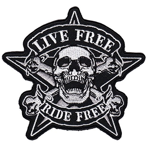 Fvlmne - Parche con la inscripción Live Free Ride Free (aplicación con plancha), diseño calavera de motero