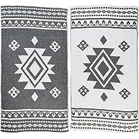 [Patrocinado]Bersuse 100% Algodón - Uxmal Toalla Turca - Certificado OEKO-TEX - Fouta Peshtemal para Baño en la Playa - Pestemal de Diseño Azteca Mano - 100X180 cm, Negro
