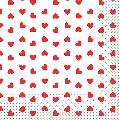 Sovie Home Serviette LOVE / Tissue-Servietten 33x33 cm / saugstarke und hochwertige Einweg-Servietten / ideal für Hochzeit & Feiern im Frühling & Sommer / 20 Stück /Rot