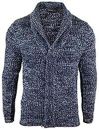 5910613ba810 Mens Shawl Cardigan Warm Winter Knitted Wool Feel Jumper Blue Grey Chunky