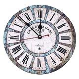 GUFAN Pendule Murale Vintage Horloge Silencieux Décoration Salon Maison (Diamètre 30 cm, Bleu clair)