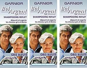 Garnier - Bel Argent  - Shampooing déjaunisseur Reflet  - Reflet gris bleuté déjaunit cheveux gris blancs Lot de 3