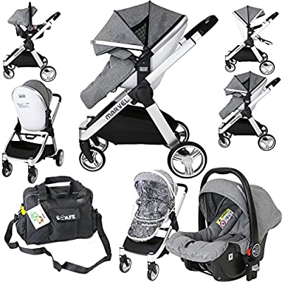 Marvel 2in1 Pram - Dove Grey with Car Seat Changing Bag  iSafe