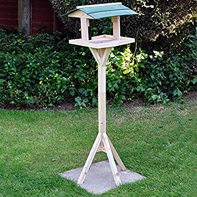 Kingfisher Wooden Wild Bird Table House, Traditional Freestanding Garden Feeding Station by Happy Beaks by Happy Beaks